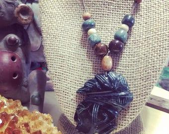 Mexican Jade Mayan Pendant Necklace
