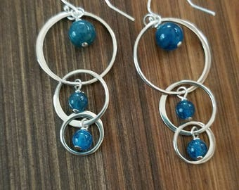Apatite and Sterling Silver Bohemian Vibe Long Dangle Chandelier Earrings