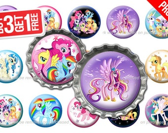 My Little Pony Bottle Cap Images - 1 inch size - Suitable for Hair Bows, Magnets, Scrapbooking, Stickers etc - High Resolution Images