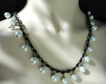 Lucrezia Borgia Necklace - Pearl, Leather and Chain Necklace