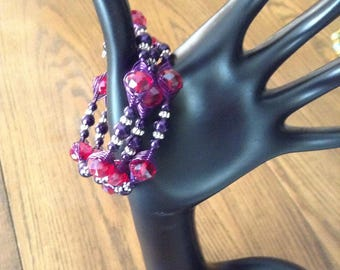 Perfect for the Red Hat Ladies: A Wrap-around bracelet in purple and red