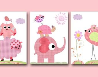 Pink Green Art for Children Kids Wall Art Baby Girl Nursery Baby Room Decor Baby Nursery Decor Nursery Prints set of 3 Elephant Owl Birds