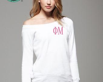 Phi Mu Sweatshirt, Monogrammed Pullover, Monogrammed Off Shoulder Sweatshirt, Wide Neck Sweatshirt, Phi Mu Pullover