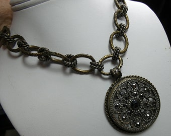 """Sweet Romance Medallion necklace etched chain- 77 grms -marcesite stones - 40mm diameter-20"""" chain2181"""