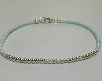 Elegant Pale Peppermint Beaded Bracelet