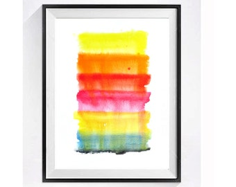Bold Abstract Watercolor Print Abstract art Painting Modern art Fine art Orange painting Bright rainbow colors