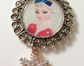 Necklace little girl, Queen of snow, Elsa, pink cord