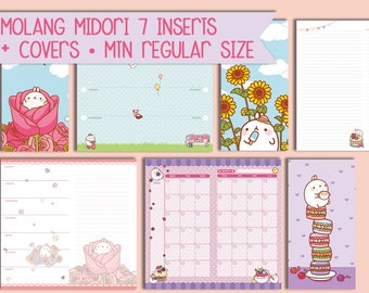 Molang Inserts midori regular Printbale traveller's notebook weekly planner monthly planner undated inserts instant download