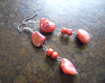Show Stopper Mother of Pearl and Wood Beaded Dangle earrings