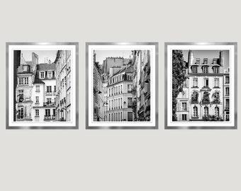 Paris wall art set of 3 Black and white large prints set of three Paris photography Architecture vertical art Large living room art 11x14