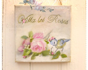 Villa les roses - French country sign Cottage Bird Roses Tag French sign - Mother's day  original oil painting © Hélène Flont Designs