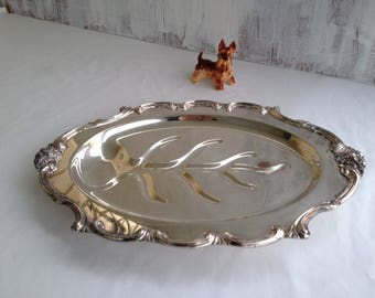 Silver Plated Platter Vintage Platter Silver Tray Vintage Tray Silver Serving Tray  Large Silver Platter Footed Tray Antique Tray