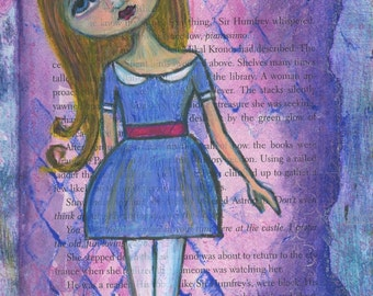 """SALE Giclee Print  8"""" x 12"""" Colorful Collage Art, Playful Inspirational Girl Decor, Whimsy Purple Wall Art - """"Accidentally Alice"""""""