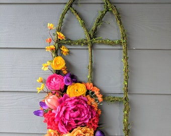 Bright Spring/Summer Floral on Moss Window Frame