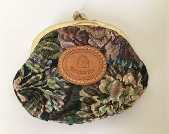Vintage artisan, Belgian Art embroidered material, multi color florals, kiss lock coin purse, gold tone metal latches. Leather logo.
