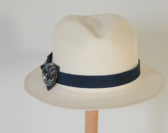 ivory Fedora hat for women,  authentic Panama hat,  straw Fedora, elegant Fedora hat for women, elegant summer hat, cool straw hat