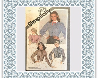 Simplicity 9796 (1980) Misses' shirt (with petite option) - Vintage Uncut Sewing Pattern