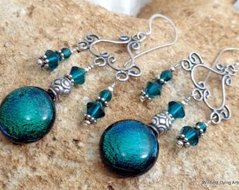 Green Crystal Dichroic Earrings