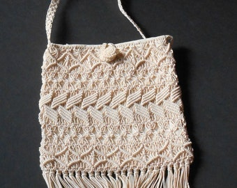 VINTAGE PURSE - Crocheted Bag - Top Handle Purse - Southwestern