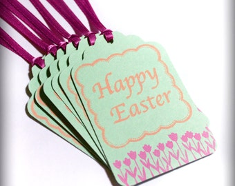 Happy Easter Flower Magenta Tag Set 6 Blank holiday gift present tag