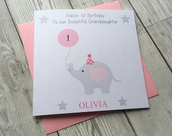 Personalised Cute Elephant 1st first Birthday Greeting Card ~ Daughter ~ Granddaughter ~ Niece ~ Cousin ~ Goddaughter ~ Special little girl