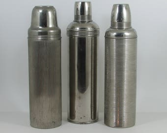 Antique Vintage USA Thermos Bottles, Landers Frary Clark Universal, Icy Hot 80N, American Thermos Bottle 15Q, Early 1900s Chrome Thermos