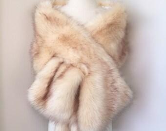 Champagne Faux Fur bridal Wrap, Light Brown Fur, Wedding Fur Shrug, Bridal Faux FurStoleFur Shawl Cape (Lilian Cha01)