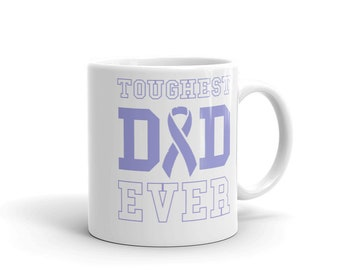 Toughest Dad Ever Mug - Esophageal Cancer Survivor - Esophageal Support Awareness Ribbon - Fathers Day Gift for Dad Mug