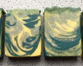 ZESTY CAROUSEL,green and yellow soap,citrus,zesty,fresh,