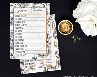 Wedding Shower Games, Famous Couples Game, Celebrity couples cards, Printed Bridal Shower Activities, Fun Games, Hollywood Wedding Game