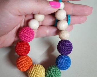 Rainbow Nursing Necklace - Crochet Breastfeeding necklace - Wooden organic Teething necklace - Lactancia baby gift