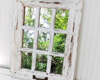 Farmhouse  Mirror,Rustic Wall Mirror,Window Mirror,Shabby Chic Mirror,Living Room Mirror,Wall Mirror,Rustic Wall Decor,