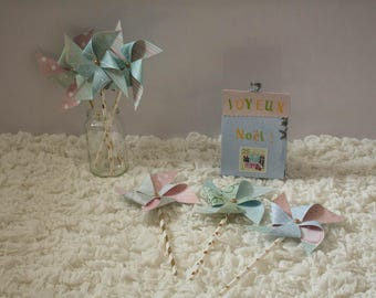 Set of 6 pinwheels in winter colors for party decoration