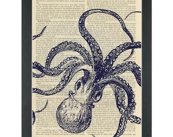 Kraken blue upside down set Dictionary Art Print