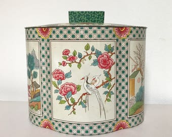 Baret Ware Tin, Vintage, Chinoisere, Art Grace, England, # 201, Tea, Biscuit tin, with Lid, LOVELY