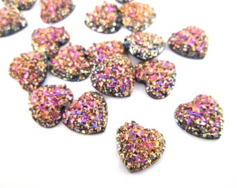 10 Pink/Gold Heart Druzy Cabochons, 12mm druzy cabs H569