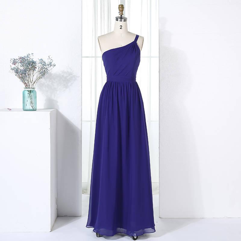 One Shoulder Strap Detail Chiffon Long Bridesmaid Dress with