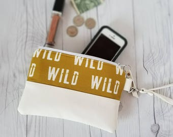 Mustard Yellow Wristlet, Wristlet Wallet, Womens Wallet, Faux Leather, Small Crossbody, Phone Wallet, Wristlet Purse, Wild, Bridesmaid Gift