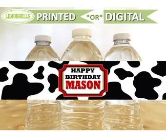 Printed Farm Water Bottle Labels, Barn Water Bottle Labels, Animals Farm Party, Cowboy Birthday, Barnyard Water Bottle, Lemonbells, WF05
