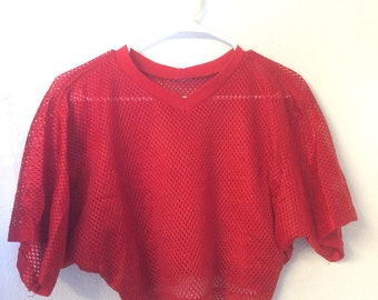Vintage 80s/90s Red Mesh Penny Crop Top