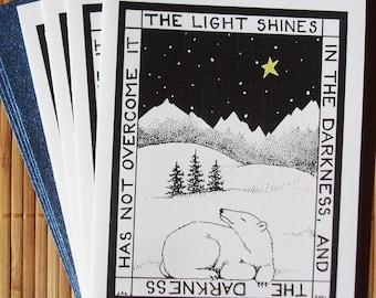 Polar Bear and Star Christmas cards - set of 4 blank holiday cards