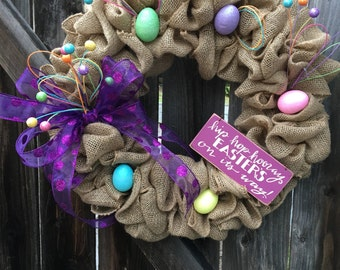 Easter wreath, easter egg wreath, spring wreath, egg wreath, pastel spring wreath, easter decorations, easter front door wreath, wreath