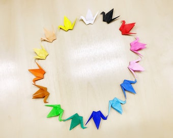 50pcs Large Size 5 1/2 inches Multicoloured Origami Cranes Japanese Paper Cranes