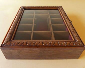 Vintage Store cas affichage OOAK - verre et vitrine en bois - affichage cas #2