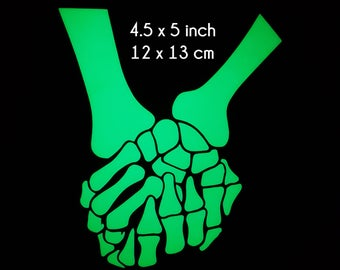 Holding Skeleton Hands - 4.5 x 5 Inch -  Glow in the Dark Decal / Sticker - Show your Love
