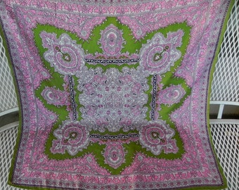 70s Pink Scarf . Paisley Pink green square scarf . Hippie Bohemian scarf.