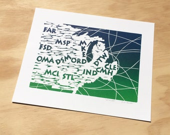Flight Attendant Gift, Aviation Gifts, Linocut Print, Flight Map, Airport Code Map, Aviation Art, Midwest, Airline, Boarding All Rows