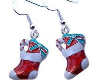 Christmas Stockings enamel on silver tone pierced earrings on Surgical Steel earwires