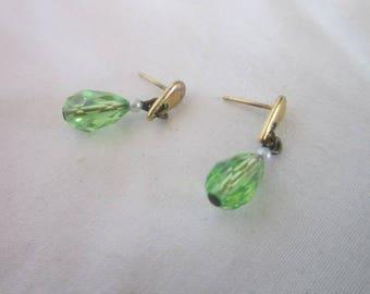 Vintage Green Aurora Borealis Cut Crystal Petite Dangle Pierced Earrings