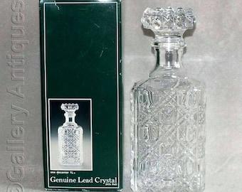 Vintage Cristal France De Plomb 24% Lead Crystal Glass Square Whisky Spirit Decanter Echt Bleikristall in Original Box c.1980's (ref: 5034)